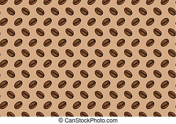 coffee beans on a brown background - vector pattern
