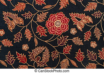 Black Batik with Red Flowers - Detail of Batik from Malaysia...