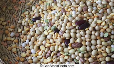 Legumes beans for vegetarian food. mixture of legumes in...