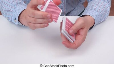 Man showing an ace of hearts