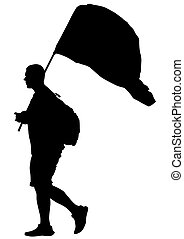 Man whit flag three - People of with large flags on white...