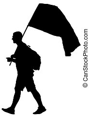 Man whit flag two - People of with large flags on white...