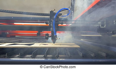 Laser cutting machine in ation. 4K. - Laser cutting machine...