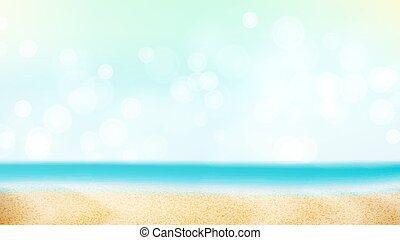 Summer Beach Vector Background. Blur Sea Coast. Outdoor...