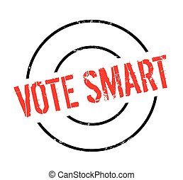Vote Smart rubber stamp. Grunge design with dust scratches....