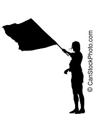 Women whit flag one - People of with large flags on white...