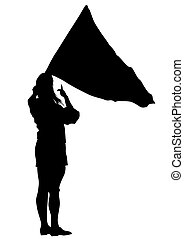 Women whit flag three - People of with large flags on white...