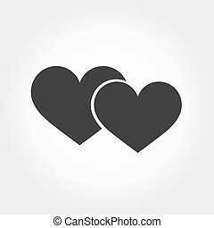 Two hearts symbol. Vector illustration