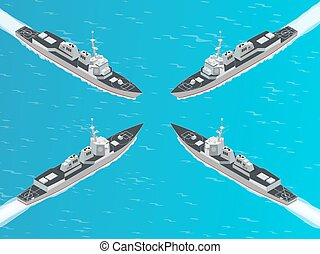 Isometric Guided missile destroyer. Vector hight quality...