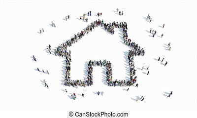 people shape of a house sign - A large group of people, a...