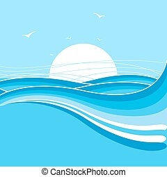 Sea and sun background.Nature illustration with waves