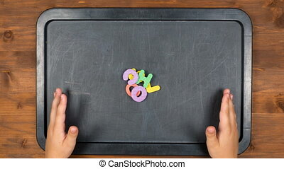 school word stop motion animation with foam letters - school...