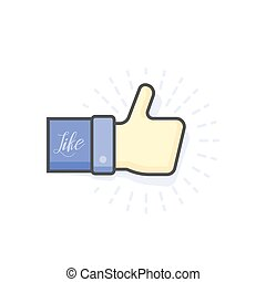 Blue thumb up icon, vector illustration