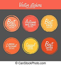 Vector set of vintage colorful Autumn labels for greetings and promotion.