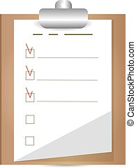 Clipboard with to do list. Flat design.