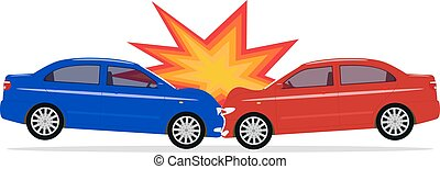 Vector illustration of a cartoon car accident