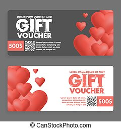 Gift vouchers with colored hearts. Great for Valentine s Day sales. Vector gift coupons