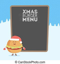 Kids restaurant menu cardboard character. Christmas and New Year winter style. Funny cute burger drawn with a smile, eyes and hands. Dressed in Santa hat and warm gloves