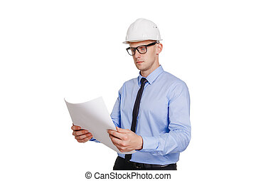 isolado, olhar, construção, branca, engenheiro,  Blueprint