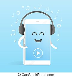 Smartphone concept of listening to music on headphones....