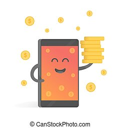 Smartphone concept of money earnings, a lot of coins....