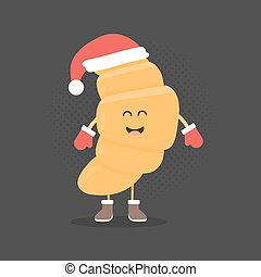 Kids restaurant menu cardboard character. Christmas and New Year winter style. Funny cute croissant drawn with a smile, eyes and hands. Dressed in Santa hat and warm gloves