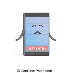 Smartphone concept upset low battery charge. Cute cartoon...