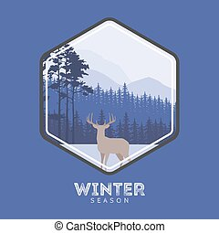 Winter forest deer label. Pine landscape, mountains covered with snow. The concept for the logo, postcards, Web sites