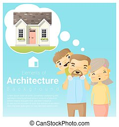 Happy family and dream house background 4