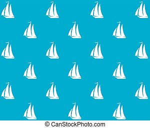 sailing ship - White silhouette of a sailboat on a blue...