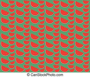 Slice of watermelon on a green background