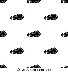 Sea fish icon in black style isolated on white background. Sea animals symbol stock vector illustration.