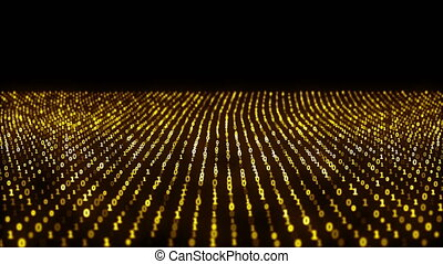 Abstract animation of the binary code waves with binary...