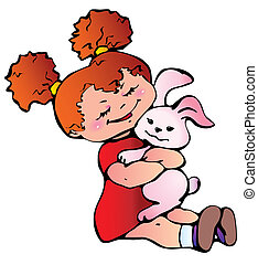 Girl with bunny - Little girl with bunny Vector...