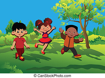 Children - Glad kids playing Happy childhood Vector...