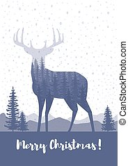 Marry Christmas cards design. Silhouette of a deer with pine...