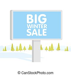 Vector illustration of flat designed winter mountains landscape with billboard. Can be used as flyer, cover, business cards, envelope, and brochure background