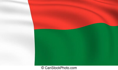 Flying Flag of MADAGASCAR | LOOPED |