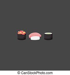 Sushi vector flat icon set