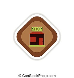 paper sticker on white background shop