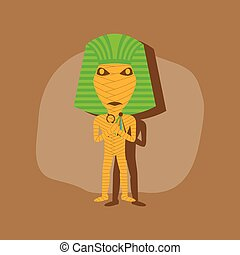 paper sticker on stylish background mummy halloween monster...