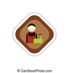paper sticker on white background cashier