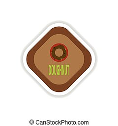 paper sticker on white background donut
