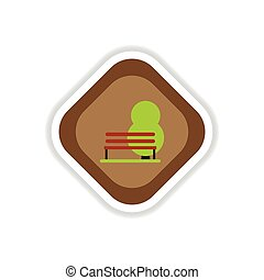 paper sticker on white background bench tree