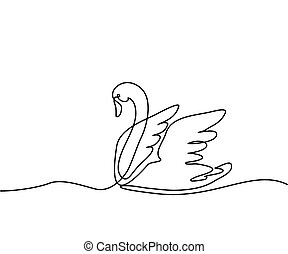 Swan logo one line drawing
