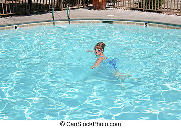 Swimming pool in Las Vegas NV. - Cooling off in a pool in...