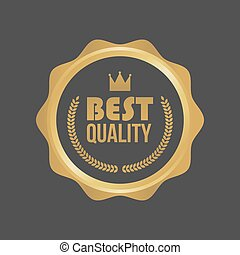 Vector Best Quality Gold Sign, Round Label