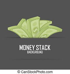 Piles of money stack, cash dollar on white, vector illustration