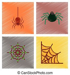 assembly flat shading style icons halloween spider web -...