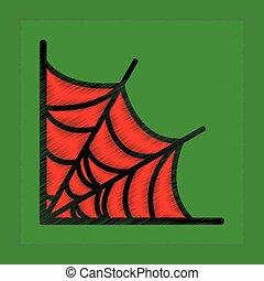 flat shading style icon spider web - flat shading style icon...